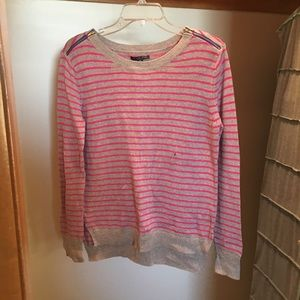 Pink & Grey Striped Sweater